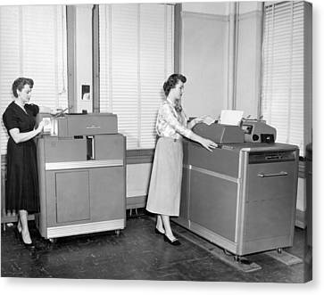Ibm Punch Card Machines Canvas Print by Underwood Archives