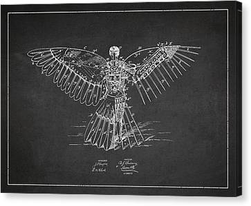 Icarus Flying Machine Patent Drawing Rear View Canvas Print by Aged Pixel