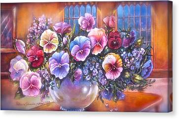 Canvas Print featuring the painting Icicle Pansies by Patricia Schneider Mitchell