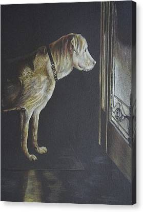 Dog At Door Canvas Print - I'll Be Waiting. by Mary Jo Jung