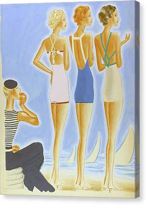 Illustration Of Models On A Beach Wearing Bathing Canvas Print by Pierre Mourgue