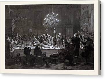 In 1634 Wallenstein Convoked Around Fifty Officers In Pilsen Canvas Print