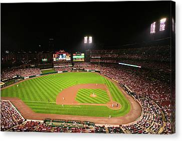 In A Night Game And A Light Rain Mist Canvas Print