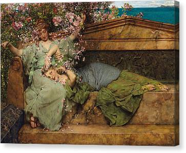 In A Rose Garden Canvas Print by Sir Lawrence Alma Tadema