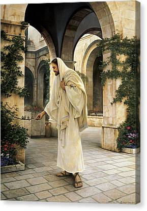 In His Constant Care Canvas Print by Greg Olsen