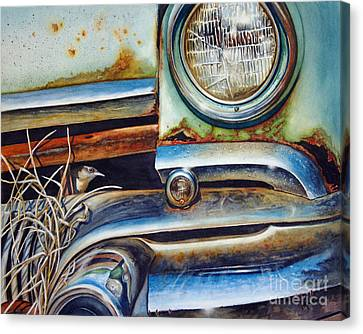 Rusted Cars Canvas Print - In The Beaten Path by Greg and Linda Halom