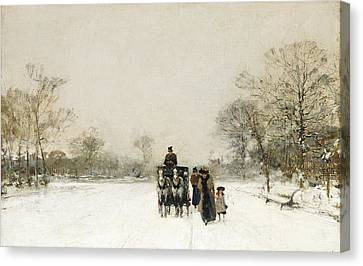 Snow-covered Landscape Canvas Print - In The Snow by Luigi Loir