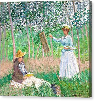 Artist At Easel Canvas Print - In The Woods At Giverny by Claude Monet