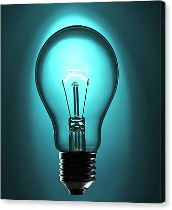 Incandescent Light Bulb Canvas Print by Science Photo Library