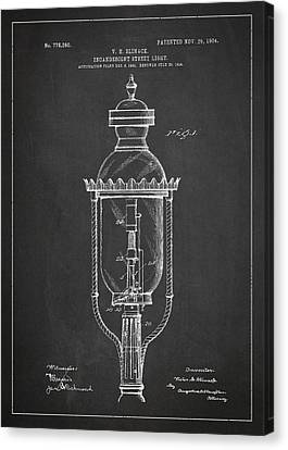 Incandescent Street Light Patent Drawing From 1904 Canvas Print