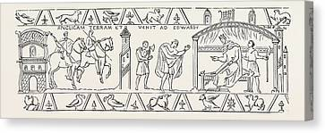 Incidents Copied From The Bayeux Tapestry Canvas Print by English School