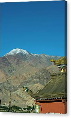 India, Ladakh, Leh, Shanti Stupa Canvas Print by Anthony Asael