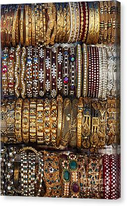 Gold Bracelet Canvas Print - Indian Bangles by Tim Gainey