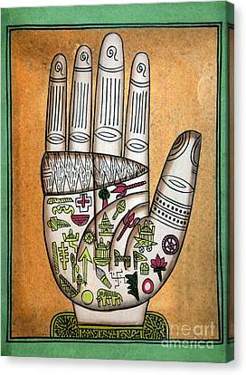 Indian Palmistry Map Canvas Print by Victor de Schwanberg