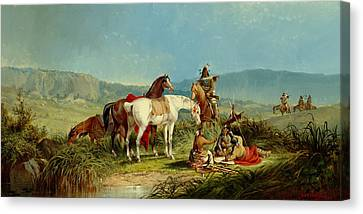 Indians Playing Cards Canvas Print by John Mix Stanley