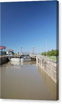 Industrial Canal Lock Canvas Print by Jim West