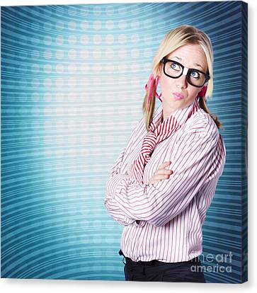 Innovative Marketing Woman Looking At Copyspace Canvas Print by Jorgo Photography - Wall Art Gallery