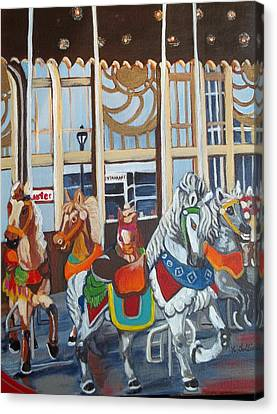 Inside The Carousel House Canvas Print
