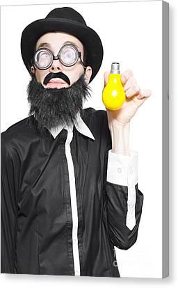 Inspiration Man Showing Light Bulb Creativity Canvas Print