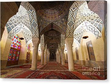 Interior Of The Winter Prayer Hall Of The Nazir Ul Mulk Mosque In Shiraz Iran Canvas Print by Robert Preston