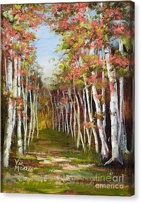 Into The Woods-series With Gold Leaf By Vic Mastis Canvas Print by Vic  Mastis