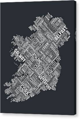 Ireland Eire City Text Map Canvas Print by Michael Tompsett