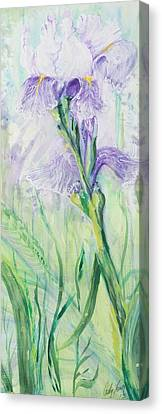Canvas Print featuring the painting Iris Number Three by Cathy Long