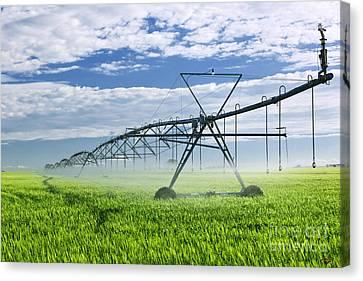 Farm Fields Canvas Print - Irrigation Equipment On Farm Field by Elena Elisseeva