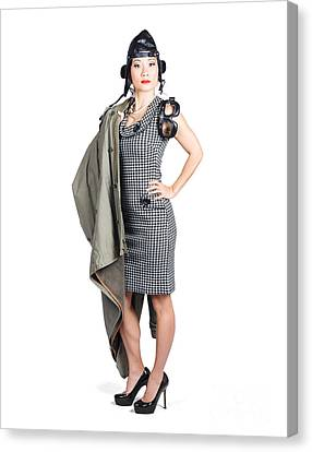 Isolated Asian Pin Up Lady. Air Force Style Canvas Print