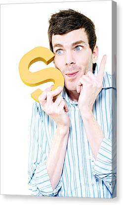 Isolated Businessman With S For Solution On White Canvas Print by Jorgo Photography - Wall Art Gallery