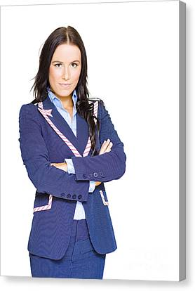 Isolated Confident Female Business Person On White Canvas Print by Jorgo Photography - Wall Art Gallery