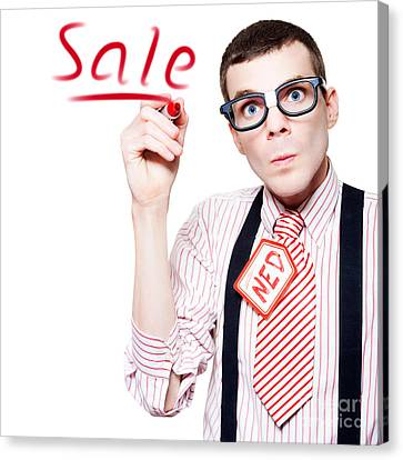Isolated Funny Nerd Advertising A Store Sale Canvas Print by Jorgo Photography - Wall Art Gallery