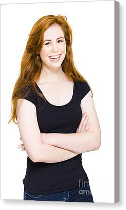 Isolated Happy Young Woman Smiling On White Canvas Print by Jorgo Photography - Wall Art Gallery