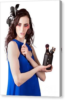 Isolated Makeup Artist Holding Blush Powder Brush Canvas Print