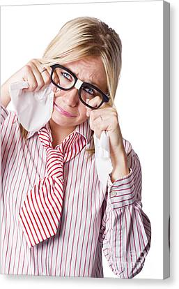Isolated Sad Business Woman Crying Into Tissue Canvas Print by Jorgo Photography - Wall Art Gallery