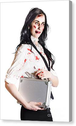 Isolated Zombie Businesswoman On White Canvas Print by Jorgo Photography - Wall Art Gallery
