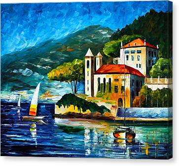 Italy Lake Como Villa Balbianello Canvas Print by Leonid Afremov