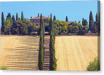 Italy, Tuscany - Farmhouse With Cypress Canvas Print