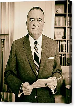 J Edgar Hoover - Director Of The Fbi 1961  Canvas Print by Mountain Dreams