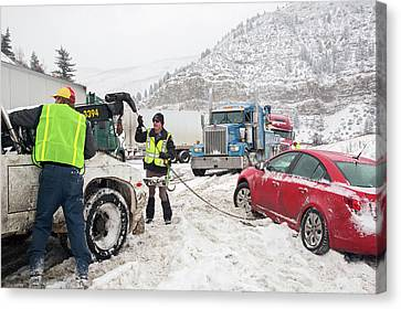 Jackknifed Truck Blocking Highway Canvas Print by Jim West