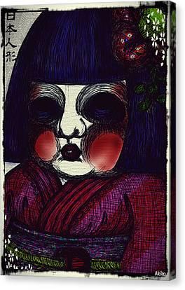 Japanese Doll Canvas Print by Akiko Okabe