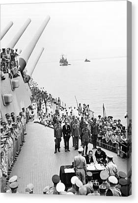 General Concept Canvas Print - Japanese Surrender Ceremony by Underwood Archives