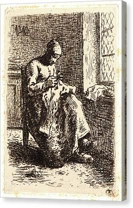 Jean-françois Millet French, 1814 - 1875. Woman Sewing La Canvas Print