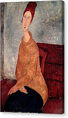 Jeanne Hebuterne In A Yellow Jumper Canvas Print by Celestial Images
