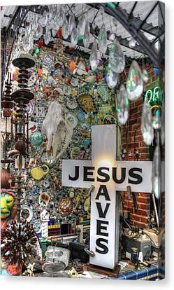 Jesus Saves Canvas Print by Jane Linders