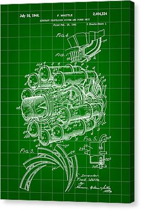 Jet Engine Patent 1941 - Green Canvas Print by Stephen Younts