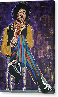 Canvas Print featuring the painting Jimi Hendrix by Rachel Natalie Rawlins