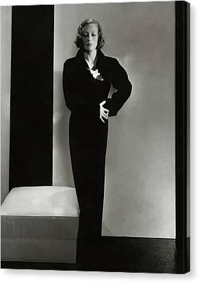Joan Crawford Wearing A Schiaparelli Dress Canvas Print by Edward Steichen