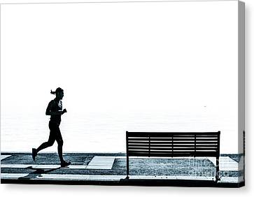 Jogging On The Prom. Canvas Print