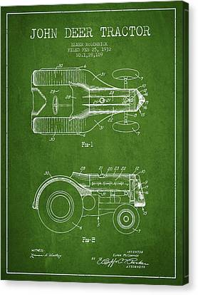 Tractors Canvas Print - John Deer Tractor Patent Drawing From 1932 - Green by Aged Pixel